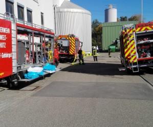 Gemeinsame Übung des Gefahrstoffzuges des LK Germersheim